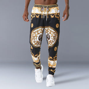 Men Palace Style Retro Print Fashion Pants