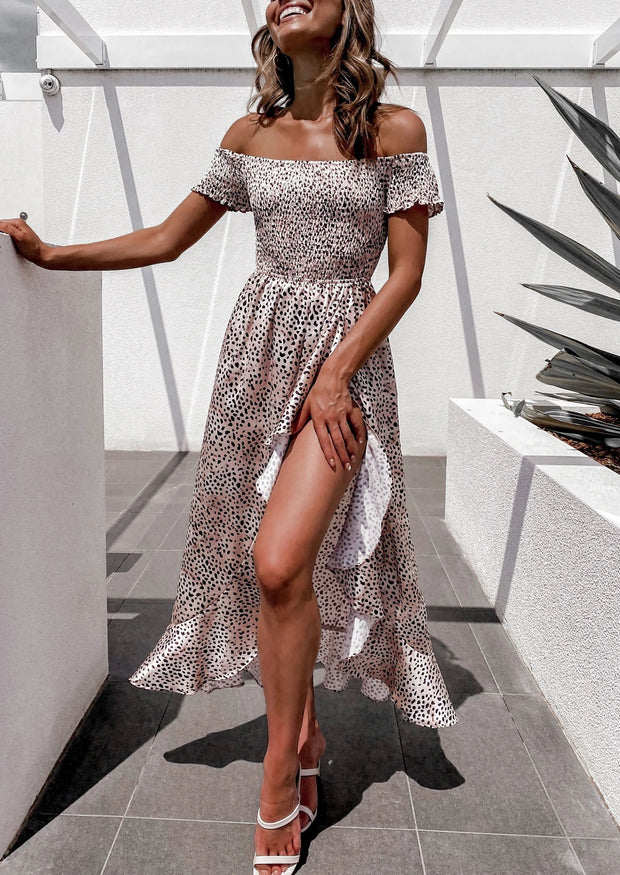 Women'S Fashion Sweet Floral Print Ruffled Midi Dress
