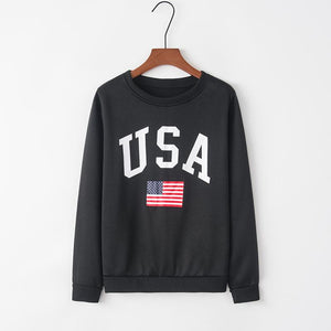 Women's Round Neck Letter Print Long Sleeve Sweatshirt