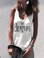 Sleeveless Letter Printed Shirts & Tops
