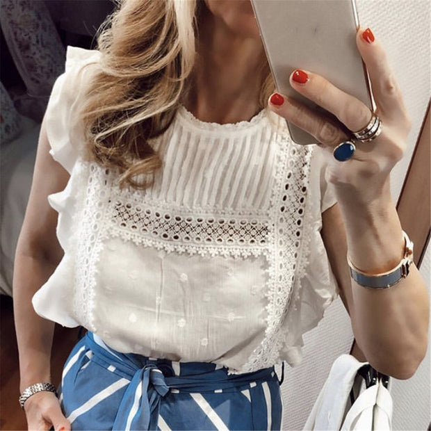 Lace stitching dot embroidered ruffled flying sleeve shirt