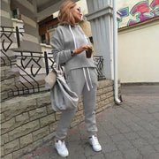 Women'S  Fashion  Solid Color Hooded Irregular Sweater Two-Piece Suit