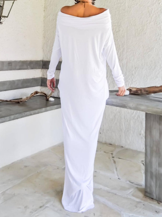Women'S White Maxi Long Sleeve Turtleneck Dress