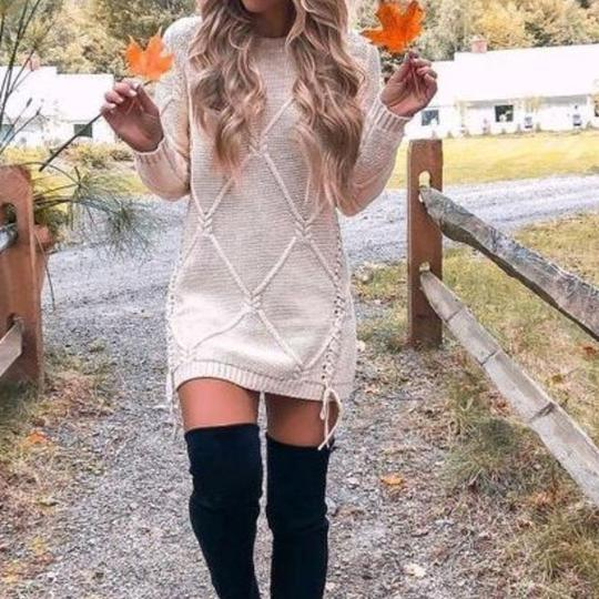 Women'S Comfortable Apricot Pullover Wild Sweater Dress