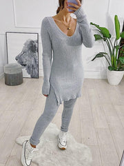 Women's sexy knitted two-piece suit