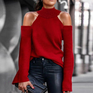 Women'S Sexy Openwork Solid Color Sweater