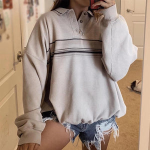 FASHION STAND SPRICOT STRIPED ZIPPER LONG SLEEVES SWEATSHIRT
