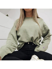 Women's Fashion Long Sleeve Pure Colour Sweater