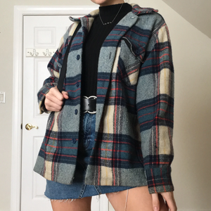 Women'S Casual Plaid Long Sleeve Jacket