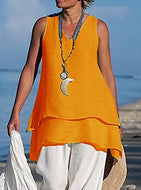 Super thin double layer Linen Vest