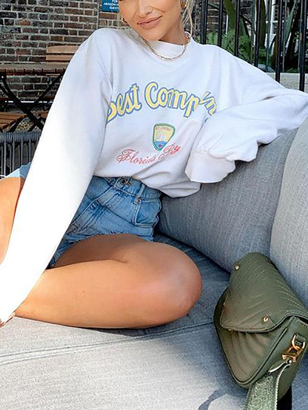 Women'S Fashion Casual Letter Print Sweatshirt