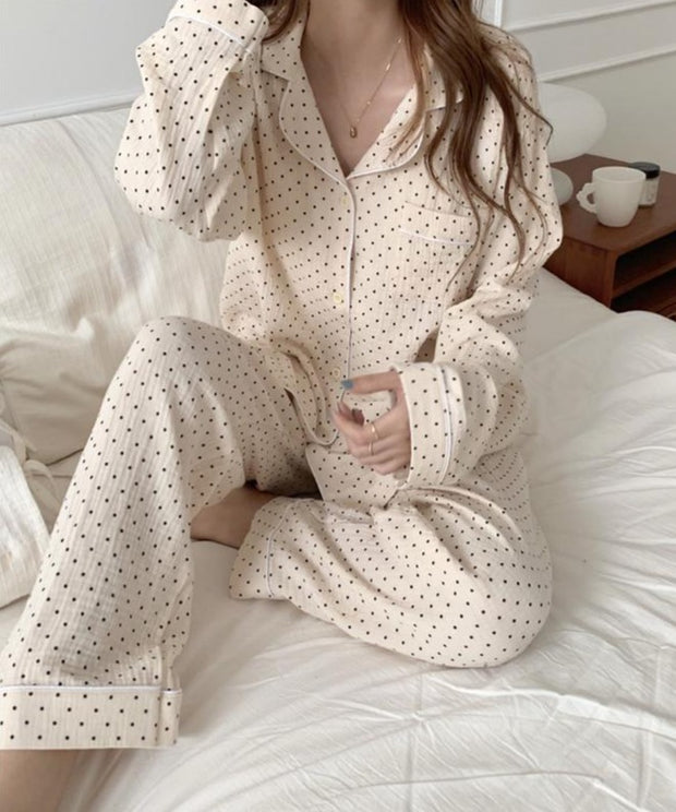 Women'S Comfortable Cotton And Linen Small Fresh Polka Dot Printing Suit