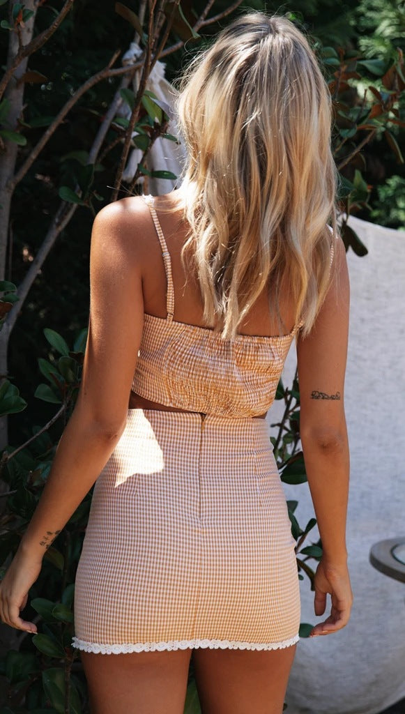 Women Check Pleated lace Sets