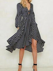 Fashion Stripe Long Sleeve V-Neck Casual Dress