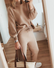 Women'S Fashion Solid Casual Loose Top And Pants Suit