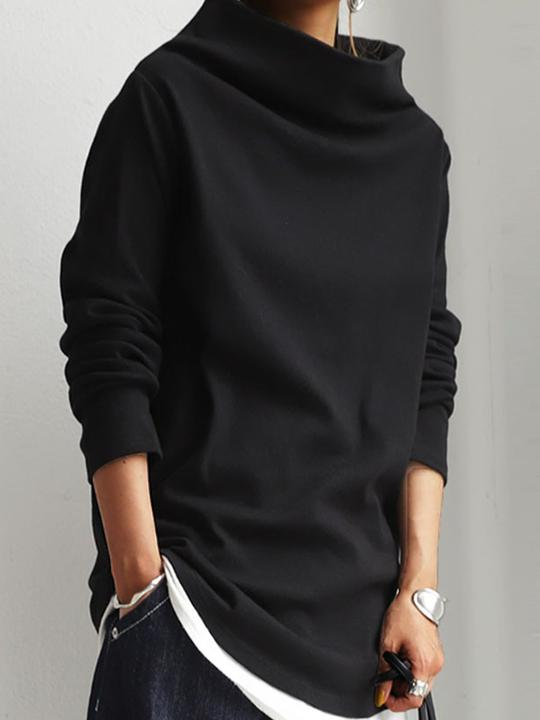 Women'S Long Sleeve Stand Collar Plain Sweatshirt