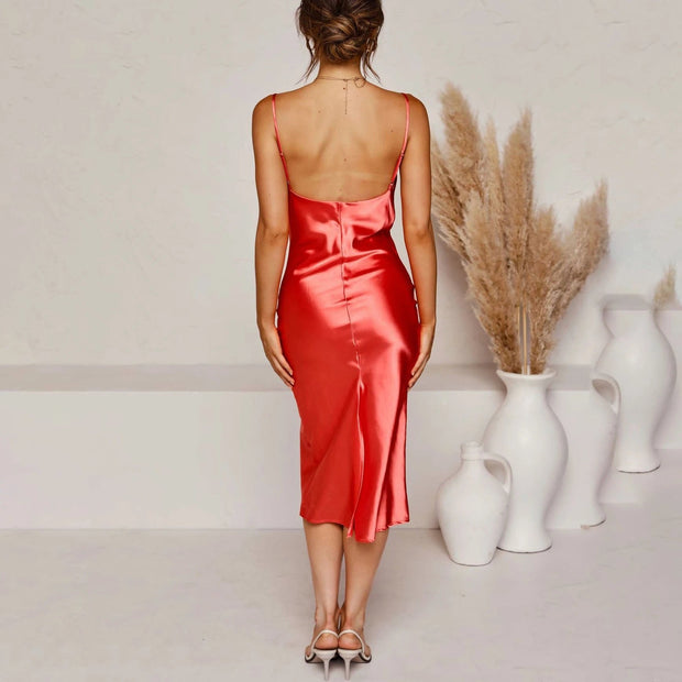 Satin strapless backless sexy dress