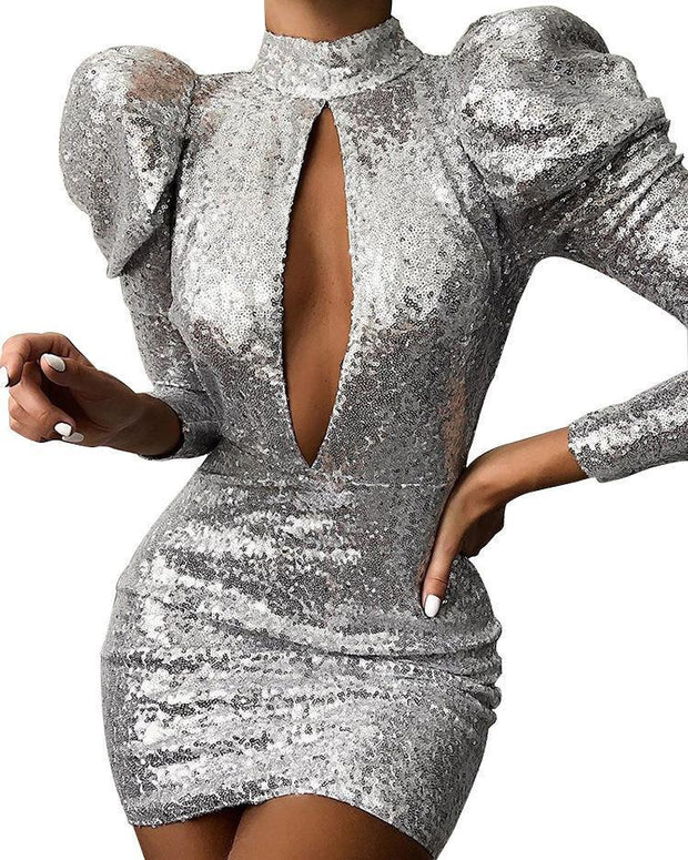 Fashion Sexy Collar Puff Sleeve Sequined Slim Dress