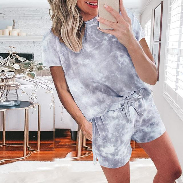 Tie-dye drawstring casual pants short-sleeved T-shirt suit