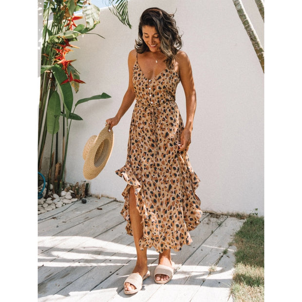 Leopard print single breasted Ruffle Halter Dress