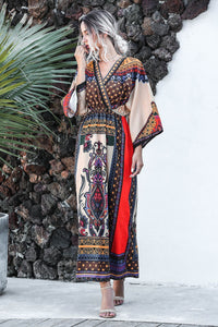 Fashion casual boho print dress vacation dress