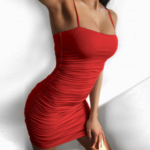 Women Sexy suspender fold bag hip nightclub Mini Dress