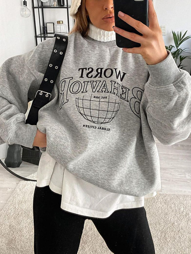 Women'S Fashion Letter Print Sweatshirt