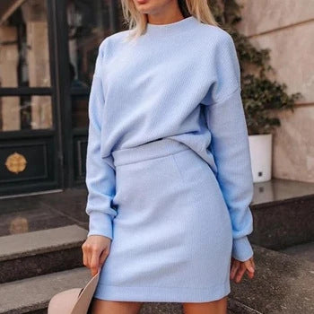Women'S Fashion Round Neck Long Sleeve Mini Two-Piece Dress Suit