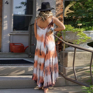 Printed women tie-dye hanging wide loose maxi dress