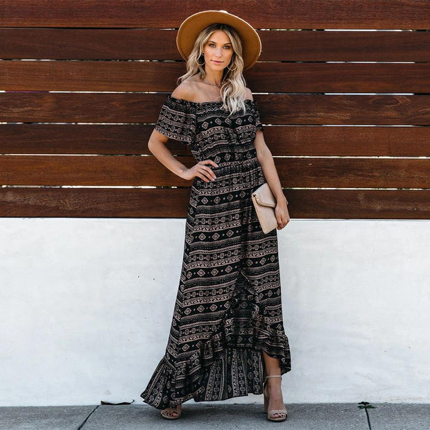 Printed fashion sexy collar women maxi casual dress