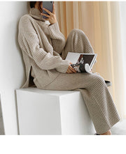 Women'S Fashion  Knitted Loose Lazy Turtleneck Sweater Casual Pants Two-Piece Suit