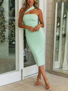 Shoulder bag hip backless slim sexy dress
