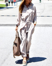 Women'S Solid Color Loose Casual Fashion Button Suit