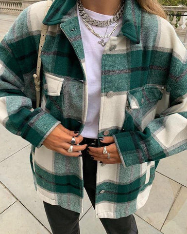 Trendy Oversized Check Jacket