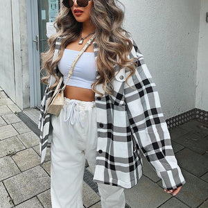 Fashion checked oversized casual woolen coat