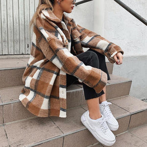 Fashion street plaid oversized woolen Shacket