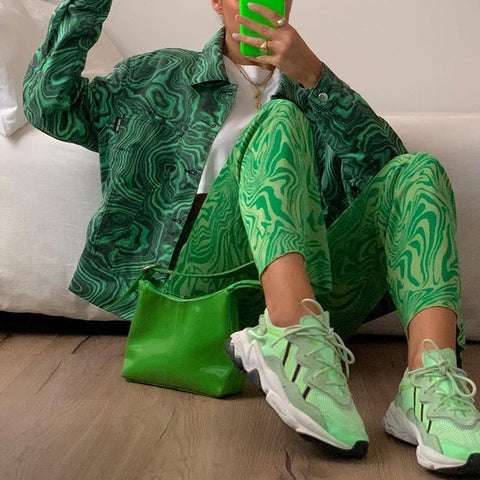 GREEN PRINTED JACKET