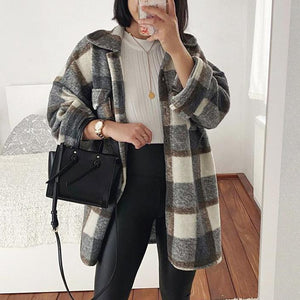 Fashion plaid oversized wool coat Shacket