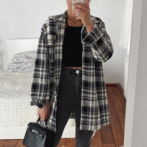 Fashion fine check oversized wool coat Shacket