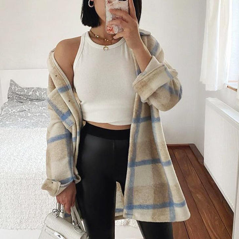 Casual loose check oversized wool Shacket