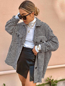 Fashion street houndstooth pattern casual jacket
