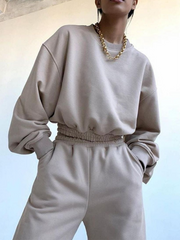 Women'S Fashion Solid Color Long-Sleeved Casual Sports Sweatshirt Two-Piece Suit