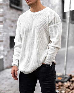 Man Solid Long Sleeve Loose knit Sweatshirts