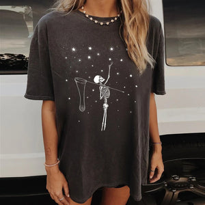 Woman loose round neck short sleeve skull print T shirt