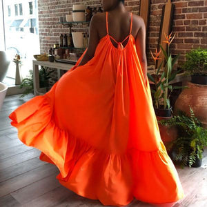 Sexy Sleeveless Sleeveless Solid Color Long Swing Maxi Dress