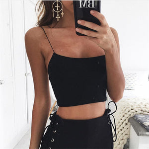 Women solid color sling knit crop top