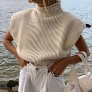 Women'S Fashion Pure Color Wool Knit Sweater Sexy Temperament High Neck Short Sleeve Sweater