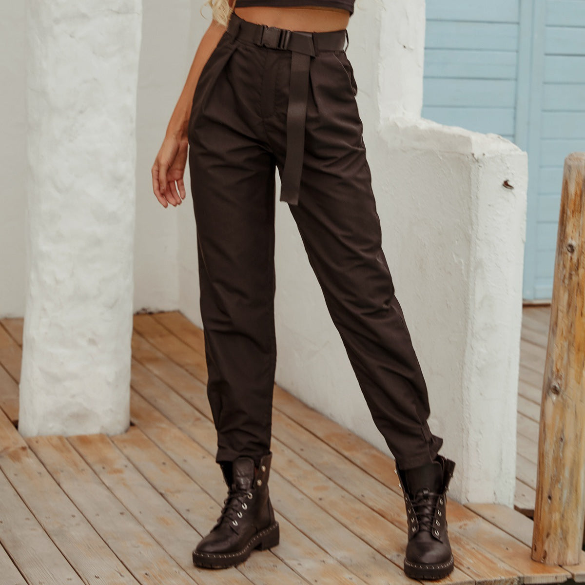Women Casual high waist tooling long Pants