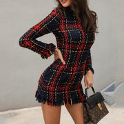 Long Sleeve Frayed Hem Tweed Dress