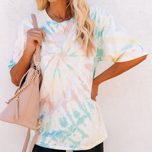 Women Casual Wild Tie-Dye Round Neck Short Sleeve Loose T-shirt